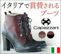Capezzani Casual Style Bi-color Leather Block Heels