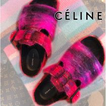 CELINE Open Toe Rubber Sole Casual Style Footbed Sandals Oversized
