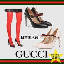GUCCI Sylvie Stripes Leather Party Style High Heel Pumps & Mules