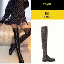 FENDI Monoglam Casual Style Leather Over-the-Knee Boots