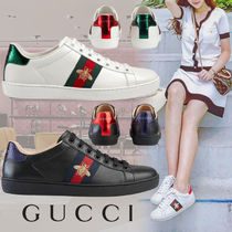 GUCCI Ace Rubber Sole Casual Style Leather Low-Top Sneakers