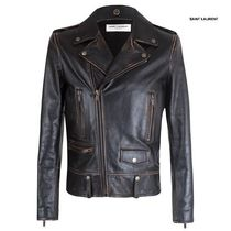 Saint Laurent Plain Leather Biker Jackets