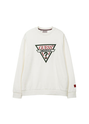 Guess Sweatshirts Crew Neck Unisex Street Style Long Sleeves 2