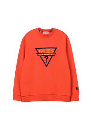 Guess Sweatshirts Crew Neck Unisex Street Style Long Sleeves 8