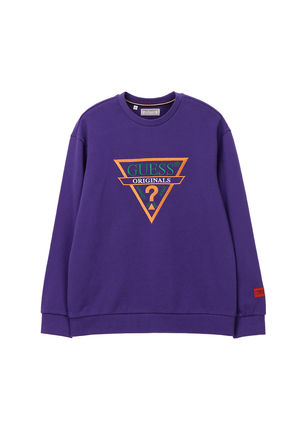 Guess Sweatshirts Crew Neck Unisex Street Style Long Sleeves 9