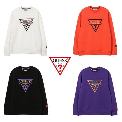 Guess Sweatshirts Crew Neck Unisex Street Style Long Sleeves
