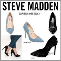 Steve Madden Casual Style Suede Studded Plain Pin Heels