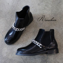 Round Toe Casual Style Chain Plain Chelsea Boots