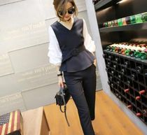Other Check Patterns Long Sleeves Plain Office Style Vests
