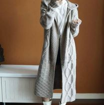 Casual Style Wool Long Sleeves Plain Long Cardigans