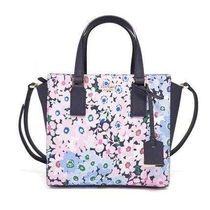 Kate Spade New York Flower Patterns Casual Style 2way Leather Handbags