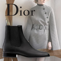 Christian Dior JADIOR Plain Leather Chelsea Boots Elegant Style Chunky Heels