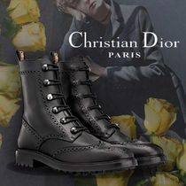 Christian Dior JADIOR Lace-up Casual Style Unisex Plain Leather Lace-up Boots