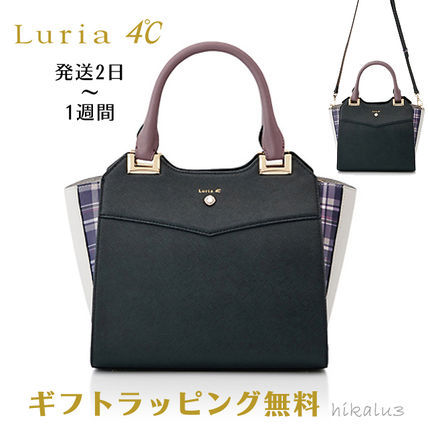 Other Check Patterns 2WAY Plain Leather Elegant Style Totes