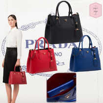 PRADA DOUBLE A4 2WAY Plain Leather Elegant Style Handbags