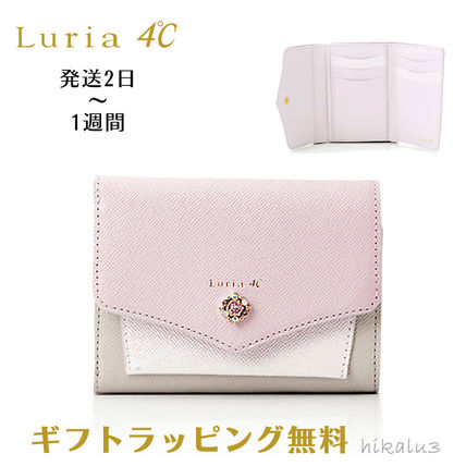 Bi-color Plain Leather With Jewels Folding Wallets