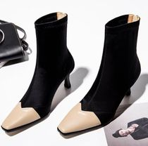 Square Toe Block Heels Elegant Style Ankle & Booties Boots