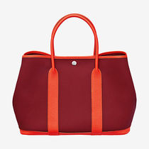 HERMES Garden Party Unisex Street Style A4 Plain Leather Totes