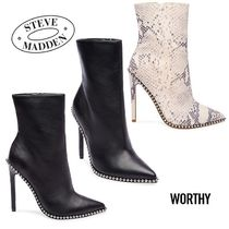 Steve Madden Studded Plain Leather Pin Heels Python High Heel Boots
