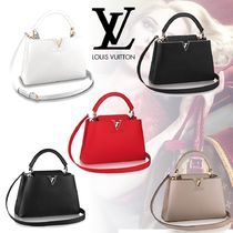 Louis Vuitton CAPUCINES 2WAY Plain Leather Elegant Style Totes