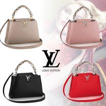 Louis Vuitton 2WAY Plain Leather Python Elegant Style Totes
