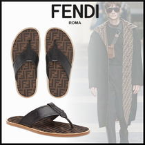 FENDI Monogram Street Style Leather Sandals