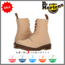Dr Martens Round Toe Rubber Sole Lace-up Casual Style Plain Leather