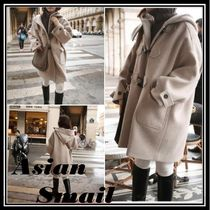 Casual Style Plain Medium Duffle Coats