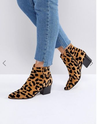 Leopard Patterns Leather Ankle & Booties Boots