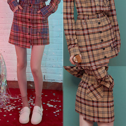 Short Other Check Patterns Casual Style Cotton Skirts