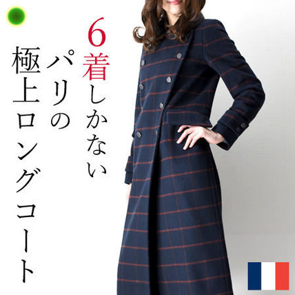 Other Plaid Patterns Casual Style Wool Long Trench Coats