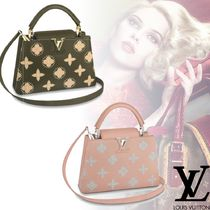 Louis Vuitton Flower Patterns 2WAY Plain Leather Elegant Style Totes