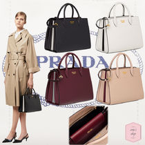 PRADA BIBLIOTHEQUE A4 2WAY Plain Leather Elegant Style Handbags