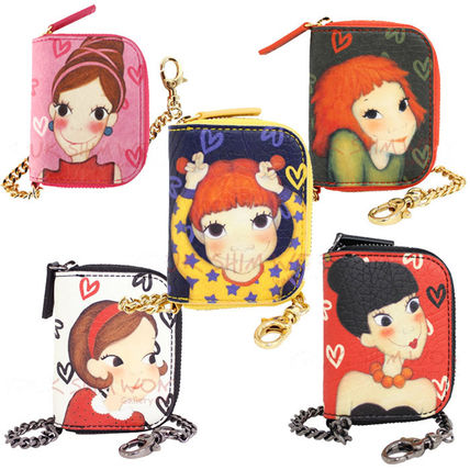 Heart Chain Leather Coin Purses