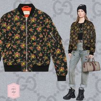 GUCCI Short Flower Patterns Unisex Blended Fabrics Varsity Jackets