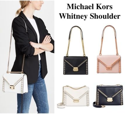 ... Michael Kors Shoulder Bags Studded 2WAY Chain Plain Leather Elegant  Style Shoulder Bags ... f2e7a6aba331f
