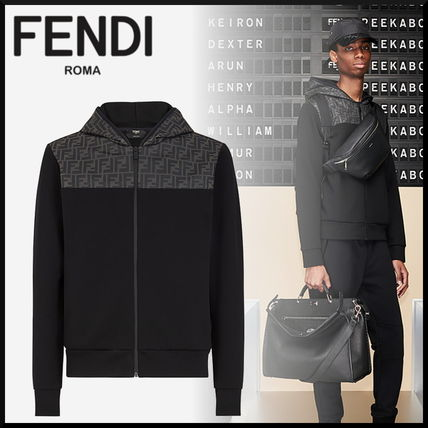 FENDI Hoodies Monogram Blended Fabrics Street Style Long Sleeves Cotton