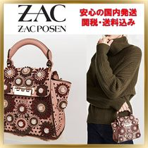 ZAC ZAC POSEN Flower Patterns Calfskin 2WAY Plain Elegant Style