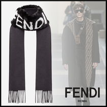 FENDI Cashmere Blended Fabrics Fringes Scarves