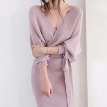 Tight V-Neck Plain Medium Elegant Style Puff Sleeves Dresses