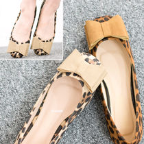 Leopard Patterns Square Toe Casual Style Suede Flats