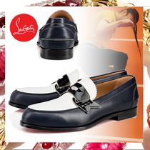 Christian Louboutin Loafers Blended Fabrics Bi-color Leather Loafers & Slip-ons