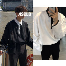 ASCLO Street Style V-Neck Bi-color Long Sleeves Oversized