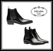 PRADA Square Toe Rubber Sole Plain Leather Chelsea Boots