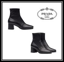 PRADA Round Toe Casual Style Plain Leather Chunky Heels