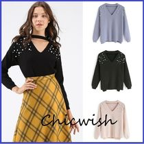 Chicwish V-Neck Long Sleeves Medium With Jewels Elegant Style
