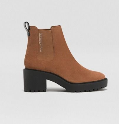 Round Toe Leather Chelsea Boots Chunky Heels