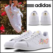 adidas STAN SMITH Flower Patterns Plain Toe Street Style Leather