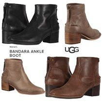 UGG Australia Plain Toe Plain Leather Block Heels Ankle & Booties Boots