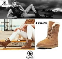 Round Toe Rubber Sole Casual Style Fur Plain Flat Boots